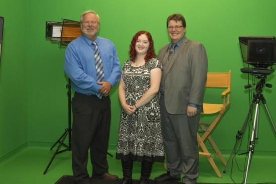 L-R: Art Berger, Director of MDC; Rebecca Lynch, Academic Media Producer; Jeff Clark, Georgia Southern Music Graduate Student