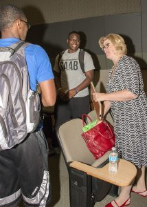Sheryl Bunton Conversing with Students
