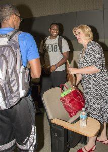 Sheryl Bunton Conversing with Students